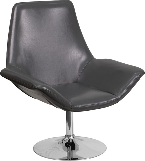TYCOON Sabrina Series Gray Leather Side Reception Chair