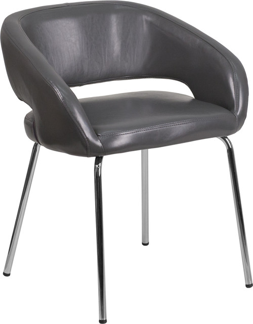 Fusion Series Contemporary Gray Leather Side Reception Chair