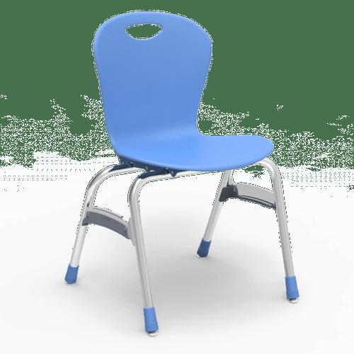 "ZUMA Series 18"" Classroom Chair, Sky Blue Bucket, Chrome Frame, 5th Grade - Adult - Set of 4 Chairs"