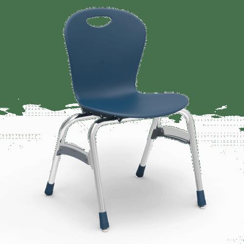 "ZUMA Series 18"" Classroom Chair, Navy Bucket, Chrome Frame, 5th Grade - Adult - Set of 4 Chairs"