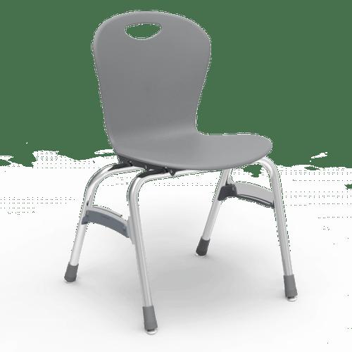 "ZUMA Series 18"" Classroom Chair, Graphite Bucket, Chrome Frame, 5th Grade - Adult - Set of 4 Chairs"