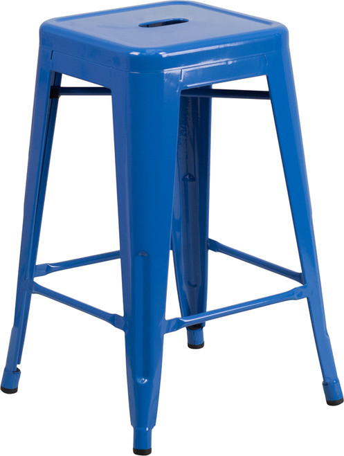 24'' High Backless Blue Metal Indoor-Outdoor Counter Height Stool with Square Seat