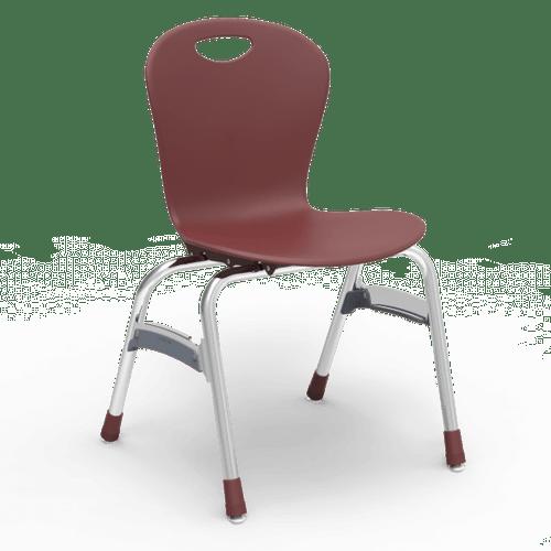 "ZUMA Series 18"" Classroom Chair, Wine Bucket, Chrome Frame, 5th Grade - Adult - Set of 4 Chairs"