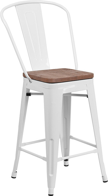 "24"" High White Metal Counter Height Stool with Back and Wood Seat"