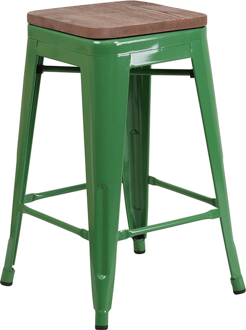 "24"" High Backless Green Metal Counter Height Stool with Square Wood Seat"