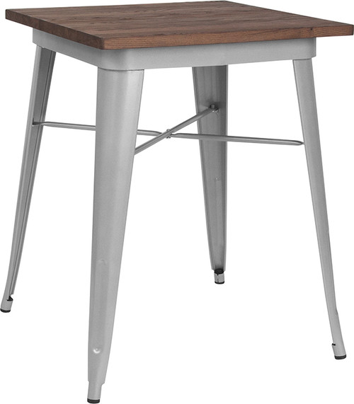 """23.5"""" Square Silver Metal Indoor Table with Walnut Rustic Wood Top"""