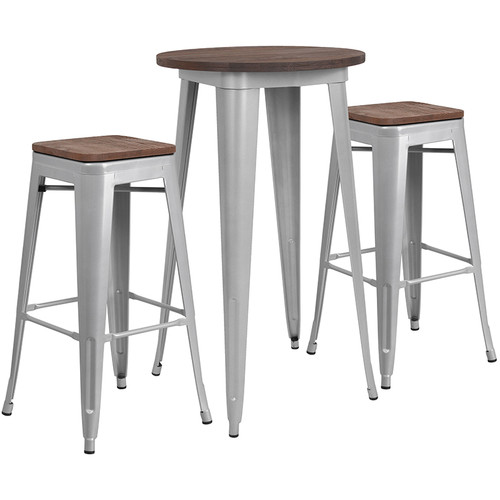 """24"""" Round Silver Metal Bar Table Set with Wood Top and 2 Backless Stools"""