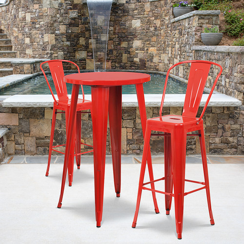 24'' Round Red Metal Indoor-Outdoor Bar Table Set with 2 Cafe Stools