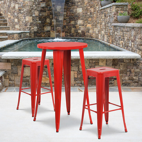 24'' Round Red Metal Indoor-Outdoor Bar Table Set with 2 Square Seat Backless Stools