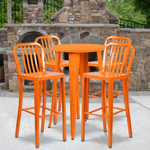 24'' Round Orange Metal Indoor-Outdoor Bar Table Set with 4 Vertical Slat Back Stools