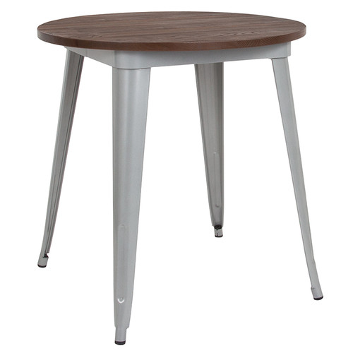 """26"""" Round Silver Metal Indoor Table with Walnut Rustic Wood Top"""