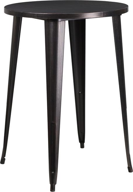 30'' Round Black-Antique Gold Metal Indoor-Outdoor Bar Height Table
