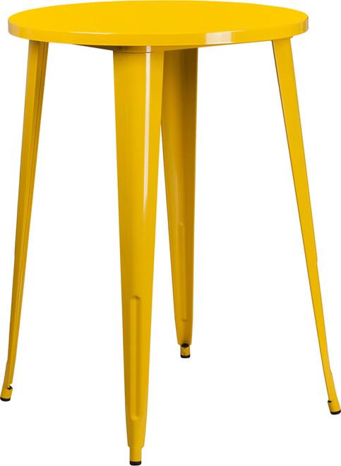 30'' Round Yellow Metal Indoor-Outdoor Bar Height Table
