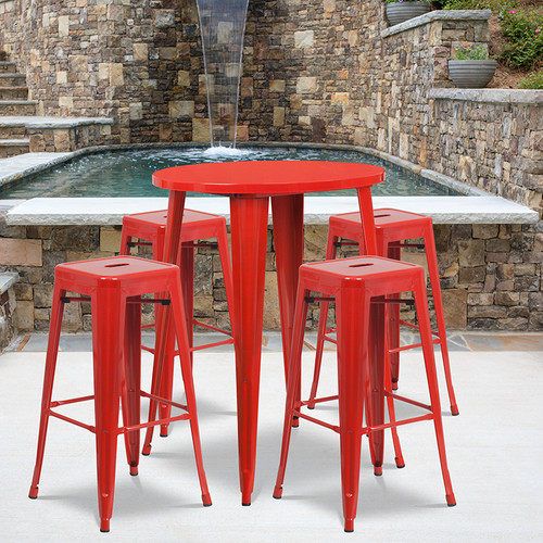 30'' Round Red Metal Indoor-Outdoor Bar Table Set with 4 Square Seat Backless Stools