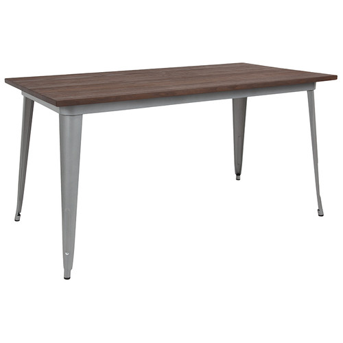"30.25"" x 60"" Rectangular Silver Metal Indoor Table with Walnut Rustic Wood Top"