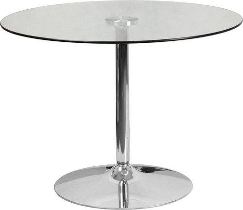 39.25'' Round Glass Table with 29''H Chrome Base