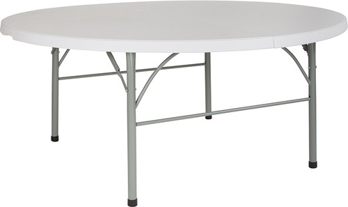 """72"""" Round Bi-Fold Granite White Plastic Banquet and Event Folding Table with Carrying Handle"""