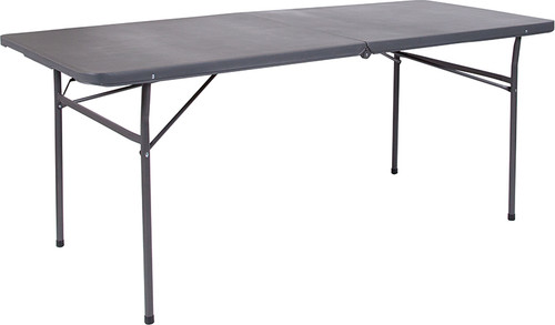 30''W x 72''L Bi-Fold Dark Gray Plastic Folding Table with Carrying Handle