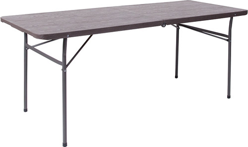 30''W x 72''L Bi-Fold Brown Wood Grain Plastic Folding Table with Carrying Handle