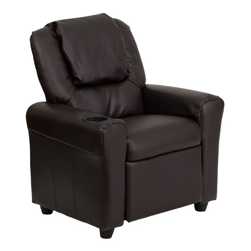 Contemporary Brown Leather Kids Recliner with Cup Holder and Headrest