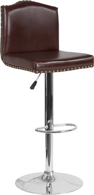 Bellagio Contemporary Adjustable Height Barstool with Accent Nail Trim in Brown Leather