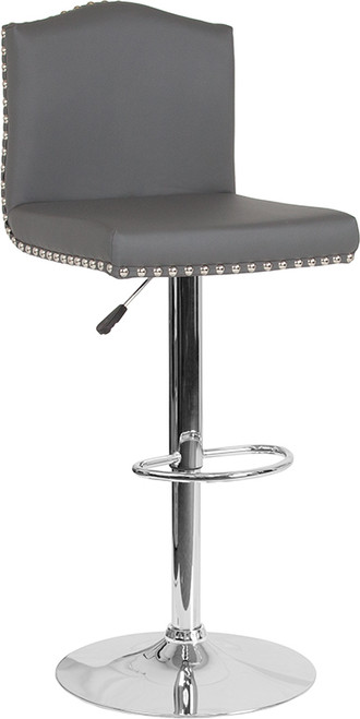 Bellagio Contemporary Adjustable Height Barstool with Accent Nail Trim in Gray Leather