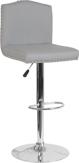 Bellagio Contemporary Adjustable Height Barstool with Accent Nail Trim in Light Gray Fabric