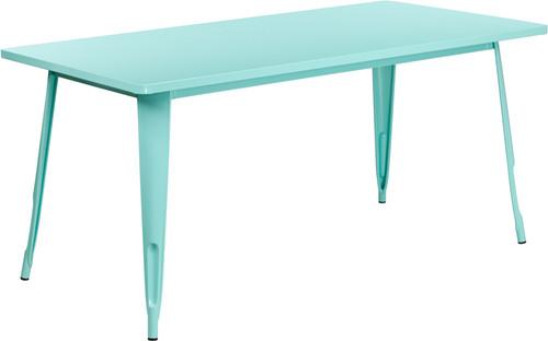 31.5'' x 63'' Rectangular Mint Green Metal Indoor-Outdoor Table