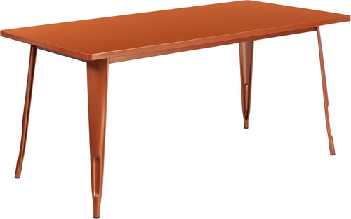 31.5'' x 63'' Rectangular Copper Metal Indoor-Outdoor Table
