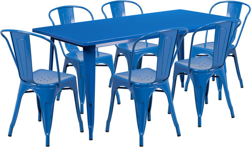 31.5'' x 63'' Rectangular Blue Metal Indoor-Outdoor Table Set with 6 Stack Chairs