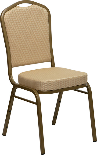 TYCOON Series Crown Back Stacking Banquet Chair in Beige Patterned Fabric - Gold Frame