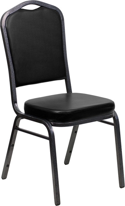 TYCOON Series Crown Back Stacking Banquet Chair in Black Vinyl - Silver Vein Frame