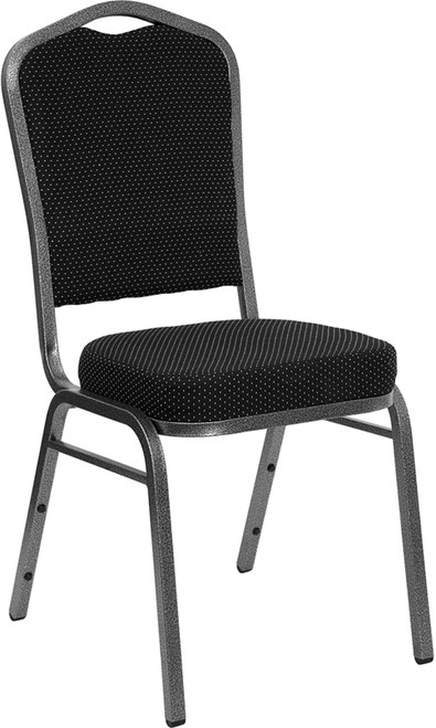 TYCOON Series Crown Back Stacking Banquet Chair in Black Dot Patterned Fabric - Silver Vein Frame