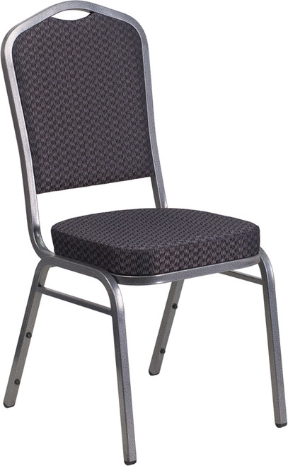 TYCOON Series Crown Back Stacking Banquet Chair in Black Patterned Fabric - Silver Vein Frame