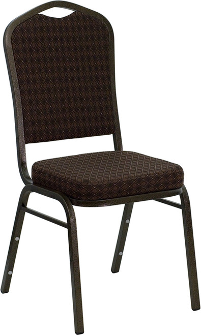 TYCOON Series Crown Back Stacking Banquet Chair in Brown Patterned Fabric - Gold Vein Frame