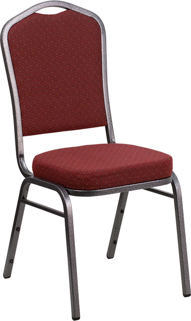 TYCOON Series Crown Back Stacking Banquet Chair in Burgundy Patterned Fabric - Silver Vein Frame