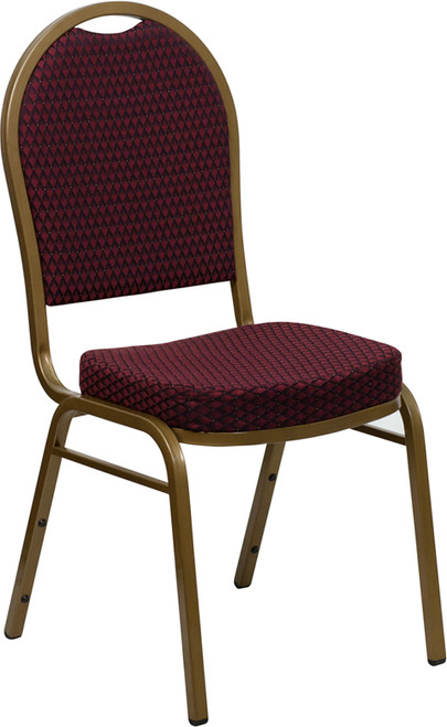 TYCOON Series Dome Back Stacking Banquet Chair in Burgundy Patterned Fabric - Gold Frame