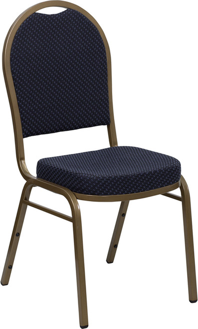 TYCOON Series Dome Back Stacking Banquet Chair in Navy Patterned Fabric - Gold Frame