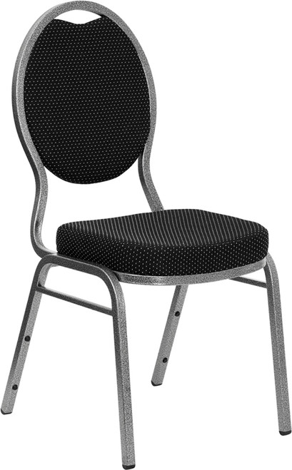 TYCOON Series Teardrop Back Stacking Banquet Chair in Black Patterned Fabric - Silver Vein Frame