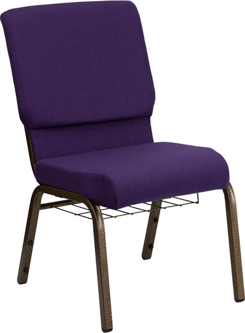 TYCOON Series 18.5''W Church Chair in Royal Purple Fabric with Cup Book Rack - Gold Vein Frame