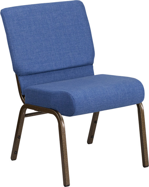TYCOON Series 21''W Stacking Church Chair in Blue Fabric - Gold Vein Frame