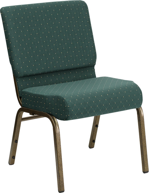 TYCOON Series 21''W Stacking Church Chair in Hunter Green Dot Patterned Fabric - Gold Vein Frame