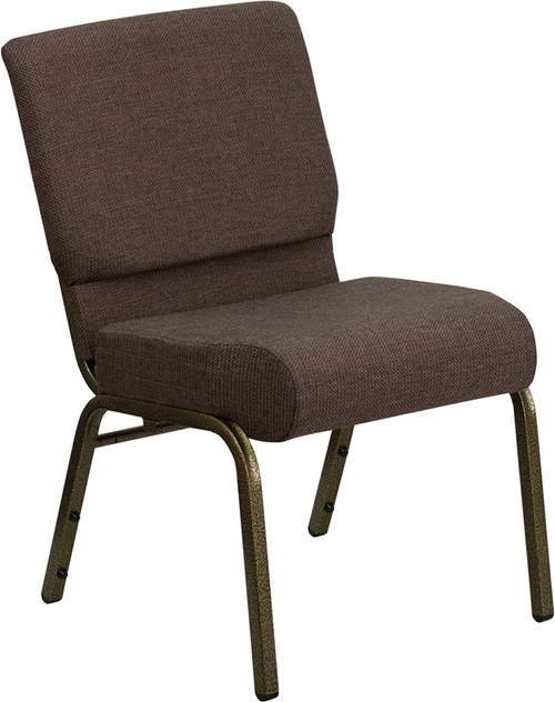 TYCOON Series 21''W Stacking Church Chair in Brown Fabric - Gold Vein Frame