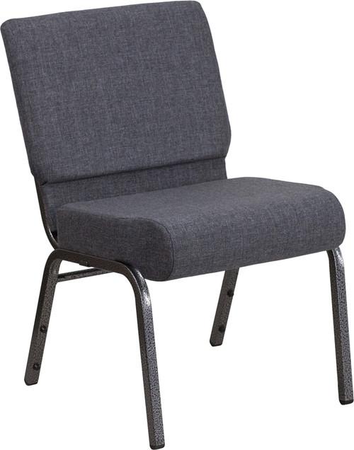TYCOON Series 21''W Church Chair in Dark Gray Fabric - Silver Vein Frame