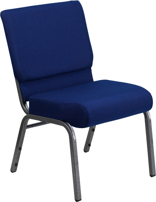 TYCOON Series 21''W Stacking Church Chair in Navy Blue Fabric - Silver Vein Frame