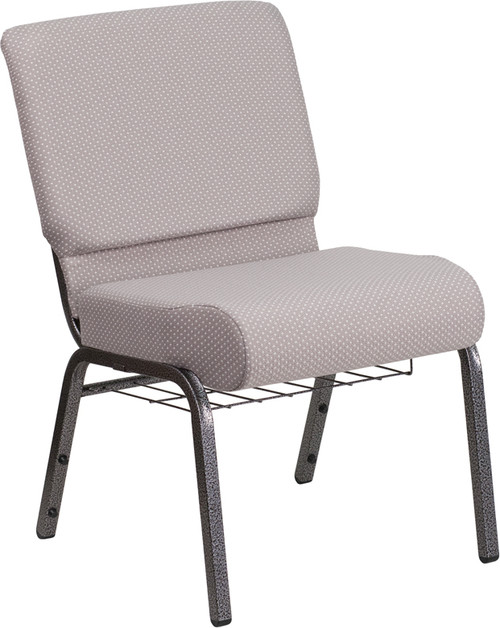TYCOON Series 21''W Church Chair in Gray Dot Fabric with Book Rack - Silver Vein Frame
