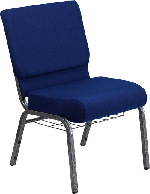 TYCOON Series 21''W Church Chair in Navy Blue Fabric with Cup Book Rack - Silver Vein Frame