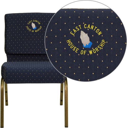 Embroidered TYCOON Series 21''W Stacking Church Chair in Navy Blue Dot Patterned Fabric - Gold Vein Frame