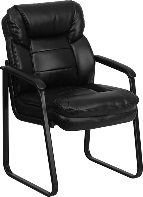 Black Leather Executive Side Reception Chair with Lumbar Support and Sled Base