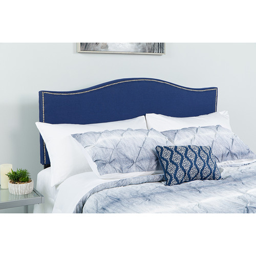 Lexington Upholstered Full Size Headboard with Accent Nail Trim in Navy Fabric